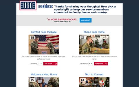 Screenshot of Landing Page uso.org - USO Wishbook | USO.org - captured March 15, 2017