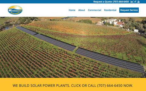 Screenshot of Home Page westcoastsolarenergy.com - Commercial Solar Power Company | Westcoast Solar Energy - captured Oct. 20, 2018