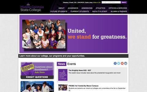 Screenshot of Home Page mga.edu - Middle Georgia State College - captured Sept. 23, 2014