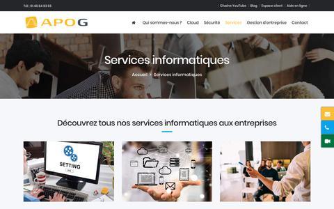 Screenshot of Services Page apog.net - Service informatique PME à Paris - prestataire service informatique - captured July 30, 2018