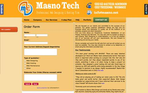 Screenshot of Signup Page masno.net - CONTACT US - captured Oct. 27, 2014