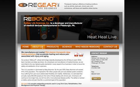 Screenshot of About Page regearlife.com - developer, manufacturer of medical devices |  Pittsburgh, PA. | ReGear Life Sciences, Inc. - captured Sept. 17, 2014