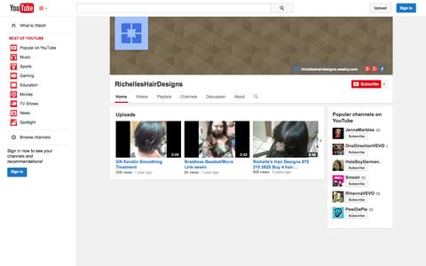 Screenshot of YouTube Page youtube.com - RichellesHairDesigns  - YouTube - captured Oct. 26, 2014