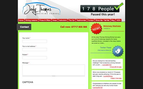 Screenshot of Contact Page jodythomasdriving.co.uk - Contact   Driving Lessons Tunbridge Wells Sevenoaks Maidstone Crowborough: Jody Thomas Driving School - captured Oct. 6, 2014