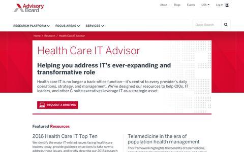 Health Care IT Advisor | Advisory Board