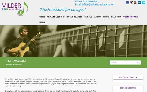 Screenshot of Testimonials Page mildermusicalarts.com - Testimonials - MILDER MUSICAL ARTS - captured Aug. 12, 2016
