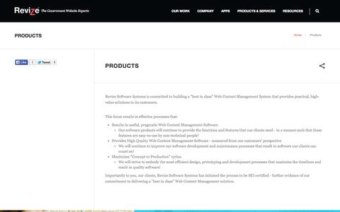 Screenshot of Products Page revize.com - Web CMS Software | Content Management Products - Revize - captured Oct. 9, 2014
