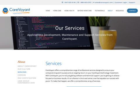 Screenshot of Services Page carevoyant.com - Technology and Support Services  — CareVoyant - captured Nov. 30, 2019