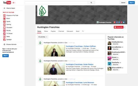 Screenshot of YouTube Page youtube.com - Huntington Franchise  - YouTube - captured Oct. 22, 2014