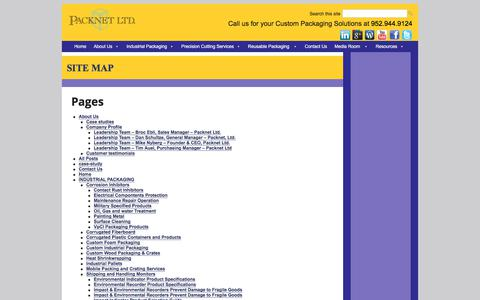 Screenshot of Site Map Page packnetltd.com - Custom Packaging solutions   Reduce your Costs and Risks   Packnet LTD - captured July 15, 2018