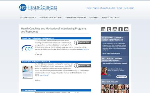 Screenshot of Products Page healthsciences.org - Health Coaching and Motivational Interviewing Programs and Resources |  Motivational Interviewing (MI) and Health Coaching Training and CCP Certification from HealthSciences Institute - captured Oct. 2, 2014