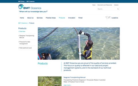 Screenshot of Products Page bmtoceanica.com.au - Products | Data and project management systems, technical products - captured Sept. 30, 2014