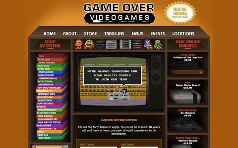 Screenshot of Jobs Page gameovervideogames.com - Game Over Videogames - Career Opportunities - captured Nov. 11, 2015