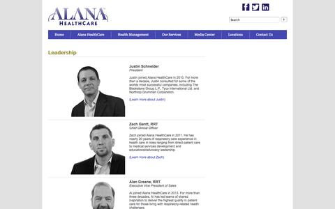 Screenshot of Team Page alanahealthcare.com - Leadership | Alana HealthCare - captured Sept. 13, 2014