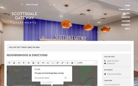 Screenshot of Maps & Directions Page scottsdalegateway.com - Apartments Tempe AZ | Scottsdale Gateway - captured Oct. 18, 2018