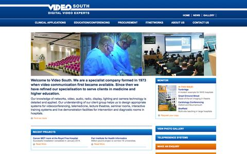 Screenshot of Home Page videosouth.co.uk - Medical Videoconferencing and Telemedicine - Video South - captured Oct. 6, 2014