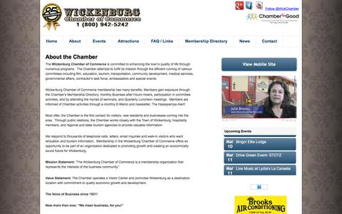 Screenshot of About Page wickenburgchamber.com - About the Wickenburg Chamber of Commerce | Wickenburg Chamber - captured March 6, 2016