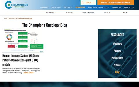 Screenshot of Blog championsoncology.com - The Champions Oncology Blog - Champions Oncology - captured Aug. 13, 2018