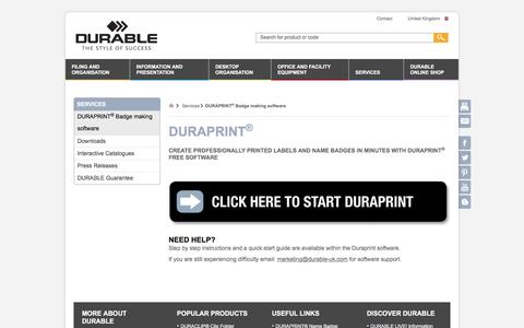 Screenshot of Services Page durable-uk.com - Duraprint - DURABLE - captured Nov. 23, 2016