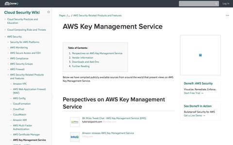 Screenshot of Team Page dome9.com - AWS Key Management Service - Cloud Security Wiki - Cloud Security Wiki - captured Dec. 3, 2019