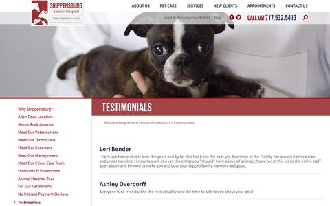 Screenshot of Testimonials Page animalsdr.com - Testimonials | Shippensburg Animal Hospital - captured April 16, 2016