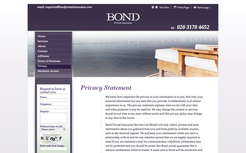 Screenshot of Privacy Page bondprivateinsurance.com - Bond Private Insurance - Privacy - captured Oct. 5, 2014