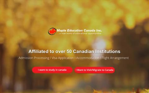 Screenshot of Home Page mapleeducation.ca - Maple Education Canada Inc.   A New World Of Educational Opportunities - captured Oct. 16, 2018