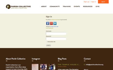 Screenshot of Login Page parishcollective.org - Login | Parish Collective - captured May 14, 2017