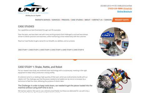 Screenshot of Case Studies Page unitytool.com - Unity Tool Case Studies - Unity Tool Inc. - captured Nov. 15, 2018
