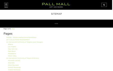 Screenshot of Site Map Page pallmallartadvisors.com - Pall Mall Art Advisors | Tangible Asset Managers - captured Oct. 21, 2018