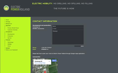 Screenshot of Contact Page eph.nu - EPH - Zero emission distribution is not something for the future, It's available right now! - captured Oct. 2, 2014