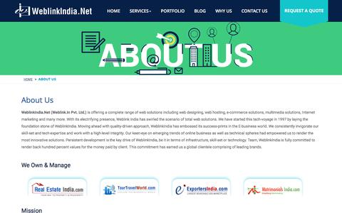 Screenshot of About Page weblinkindia.net - About Us - Web Design Services,SEO Services Delhi India - captured Nov. 29, 2016