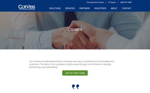 Screenshot of Jobs Page conres.com - Career Opportunities | ConRes - captured Sept. 29, 2018