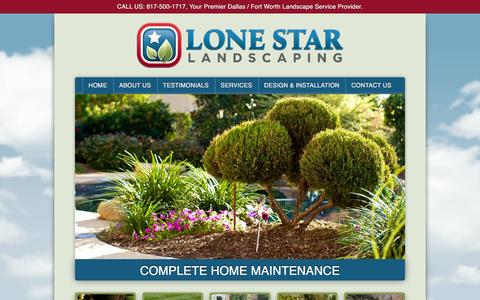Screenshot of Home Page lonestarlandscaping.com - Lone Star Landscaping | Premiere Landscape Services for Dallas/Fort Worth - captured July 17, 2016