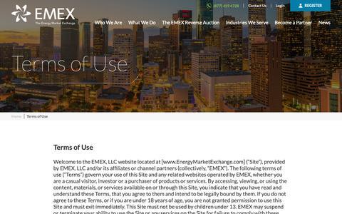 Screenshot of Terms Page energymarketexchange.com - Terms of Use   EMEX - captured Nov. 9, 2018