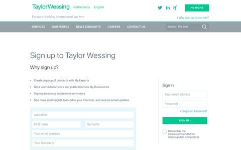 Screenshot of Login Page taylorwessing.com - » Taylor Wessing - captured Nov. 24, 2016
