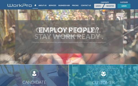 Screenshot of Home Page workpro.com.au - WorkPro - captured Aug. 14, 2015