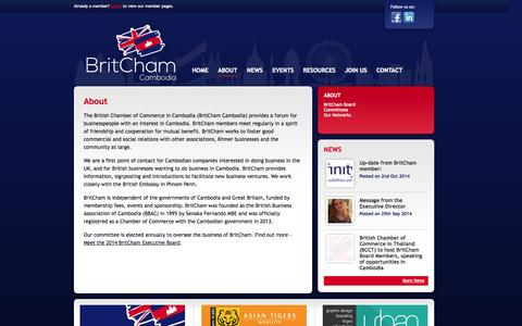 Screenshot of About Page britchamcambodia.org - About | British Chamber of Commerce in Cambodia - captured Oct. 5, 2014