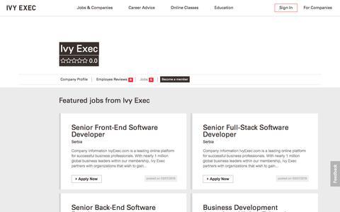 Screenshot of Jobs Page ivyexec.com - Jobs at Ivy Exec | Job Listings - captured July 20, 2019