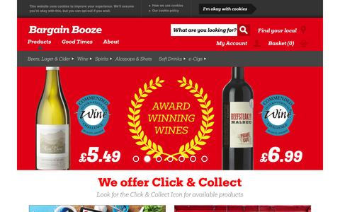 Screenshot of Home Page bargainbooze.co.uk - Bargain Booze Off Licences & Convenience Stores - captured Jan. 20, 2016