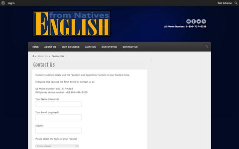 Screenshot of Contact Page englishfromnatives.com - Contact Us - English From Natives - captured Sept. 30, 2014