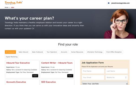 Screenshot of Jobs Page travelogyindia.com - Jobs in Travel and Tourism Hospitality Industry - captured Jan. 9, 2020