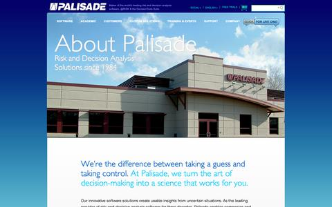 Screenshot of About Page palisade.com - About Palisade: Developers of the Market Leading Risk and Decision Analysis Software - Palisade - captured Dec. 13, 2018