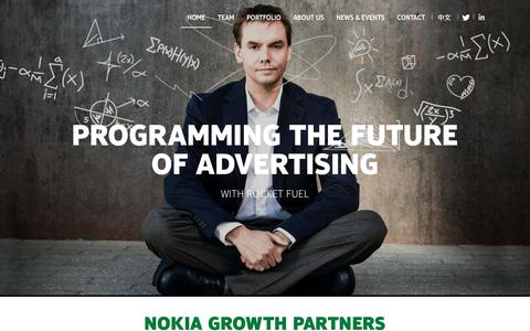 Screenshot of Home Page nokiagrowthpartners.com - Investing in growth-stage companies |Nokia Growth Partners - captured Feb. 3, 2016