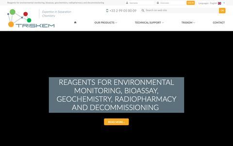 Screenshot of Home Page triskem-international.com - TrisKem International - Reagents for environmental monitoring, bioassay, geochemistry, radiopharmacy and decommissioning - captured Sept. 30, 2018