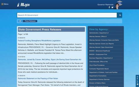 Screenshot of Press Page ri.gov - RI.gov: Press Releases - captured Jan. 31, 2016