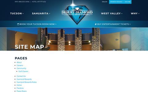 Screenshot of Site Map Page ddcaz.com - Desert Diamond Casinos & Entertainment | Site Map - captured Oct. 8, 2018