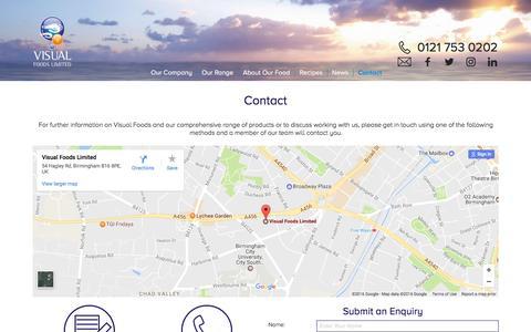 Screenshot of Contact Page visualfoods.co.uk - Contact - captured Dec. 15, 2016