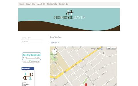 Screenshot of Maps & Directions Page hennesseehaven.com - Directions - Hennessee Haven - captured Sept. 29, 2014