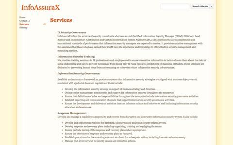 Screenshot of Services Page infoassurax.co.uk - Services - InfoAssuraX - captured Sept. 30, 2014